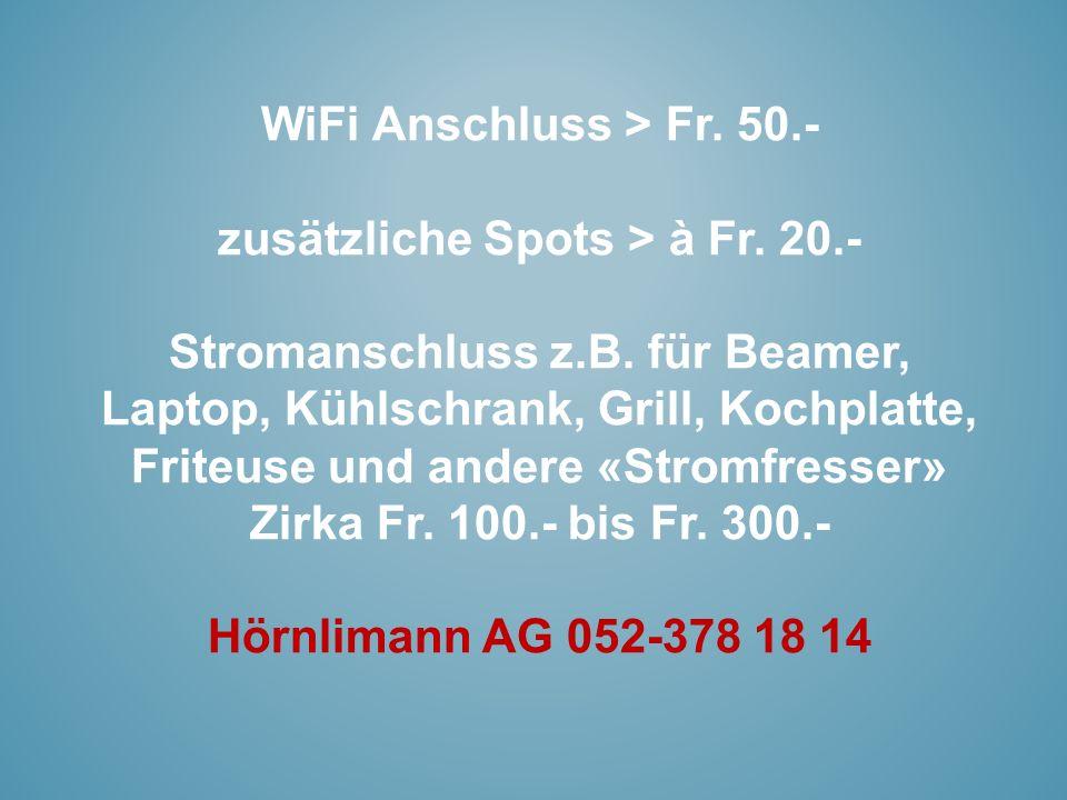 WiFi Anschluss > Fr. 50.- zusätzliche Spots > à Fr. 20.- Stromanschluss z.B. für Beamer, Laptop, Kühlschrank, Grill, Kochplatte, Friteuse und andere «