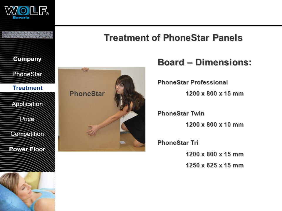 Vorstellung WBG PhoneStar Bearbeitung Anwendung Preis Wettbewerb Company PhoneStar Treatment Application Price Competition Power Floor Board – Dimensi