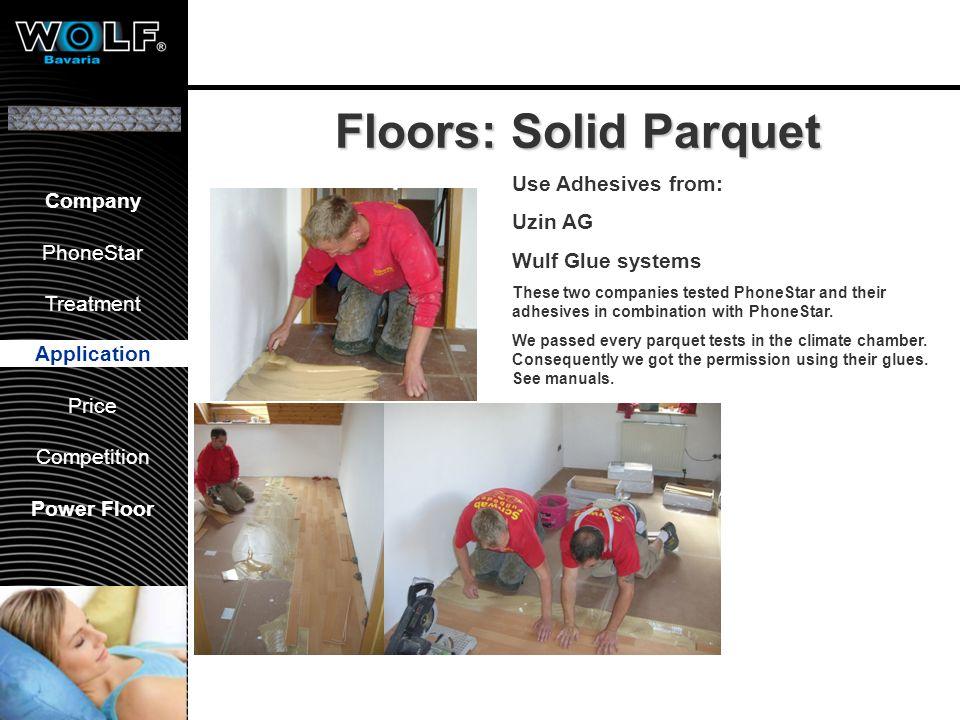 Vorstellung WBG PhoneStar Bearbeitung Anwendung Preis Wettbewerb Company PhoneStar Treatment Application Price Competition Power Floor Floors: Solid P