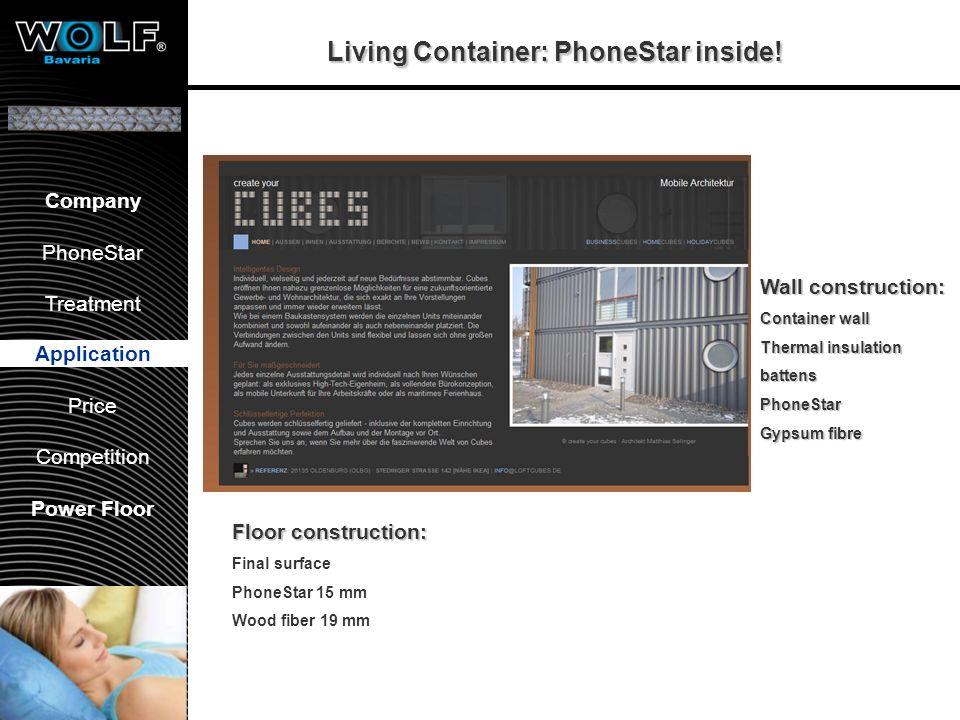 Vorstellung WBG PhoneStar Bearbeitung Anwendung Preis Wettbewerb Company PhoneStar Treatment Application Price Competition Power Floor Living Containe