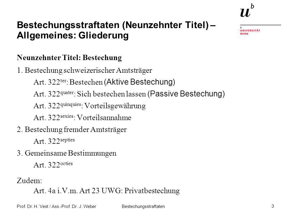 Prof. Dr. H. Vest / Ass.-Prof. Dr. J. Weber Bestechungsstraftaten 3 Bestechungsstraftaten (Neunzehnter Titel) – Allgemeines: Gliederung Neunzehnter Ti