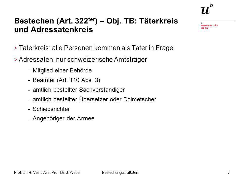 Prof. Dr. H. Vest / Ass.-Prof. Dr. J. Weber Bestechungsstraftaten 5 Bestechen (Art. 322 ter ) – Obj. TB: Täterkreis und Adressatenkreis > Täterkreis: