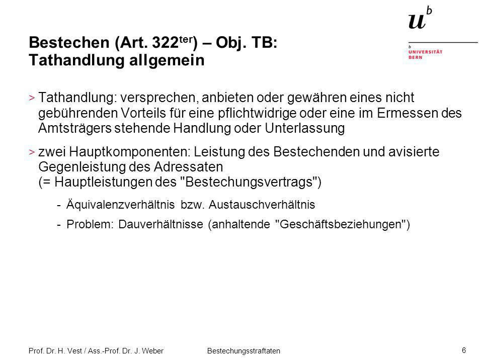 Prof. Dr. H. Vest / Ass.-Prof. Dr. J. Weber Bestechungsstraftaten 6 Bestechen (Art. 322 ter ) – Obj. TB: Tathandlung allgemein > Tathandlung: versprec