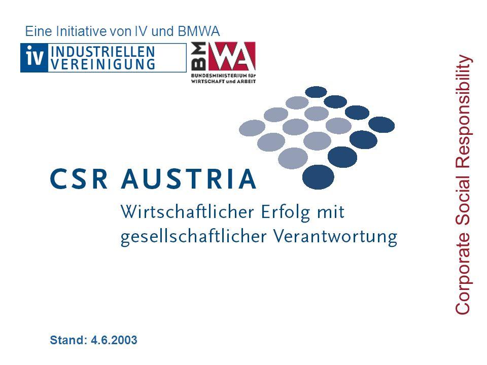 Stand: 4.6.2003 Corporate Social Responsibility Eine Initiative von IV und BMWA