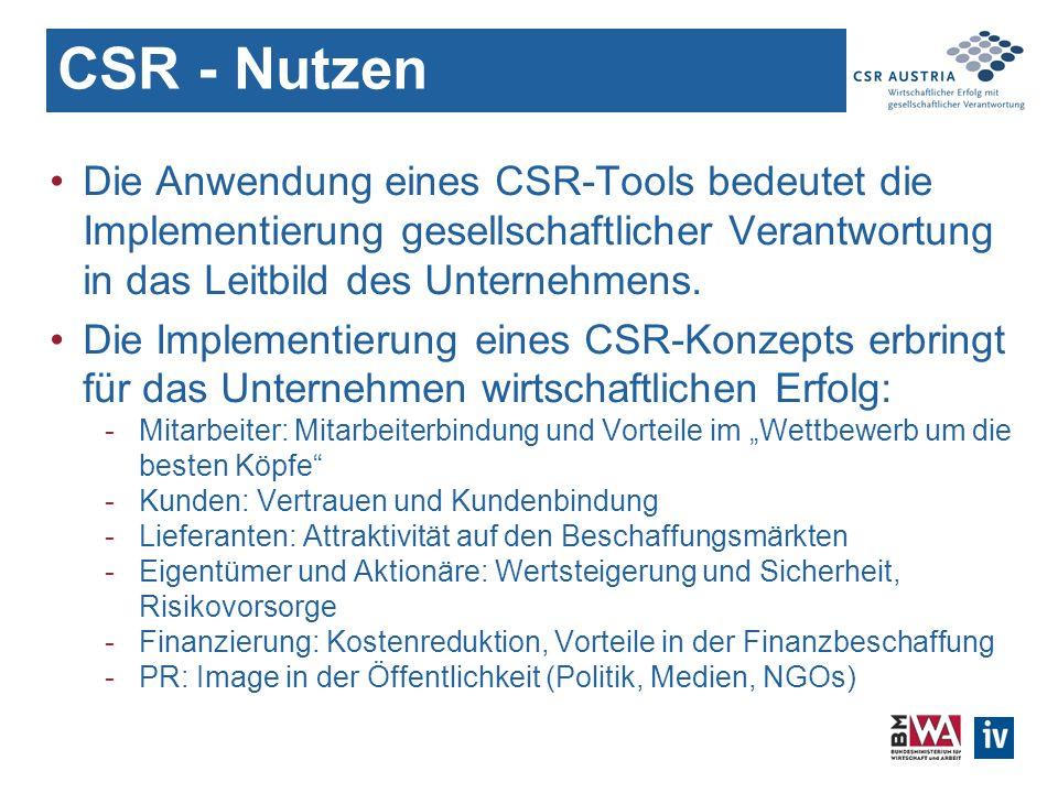 CSR - Nutzen Die Anwendung eines CSR-Tools bedeutet die Implementierung gesellschaftlicher Verantwortung in das Leitbild des Unternehmens.