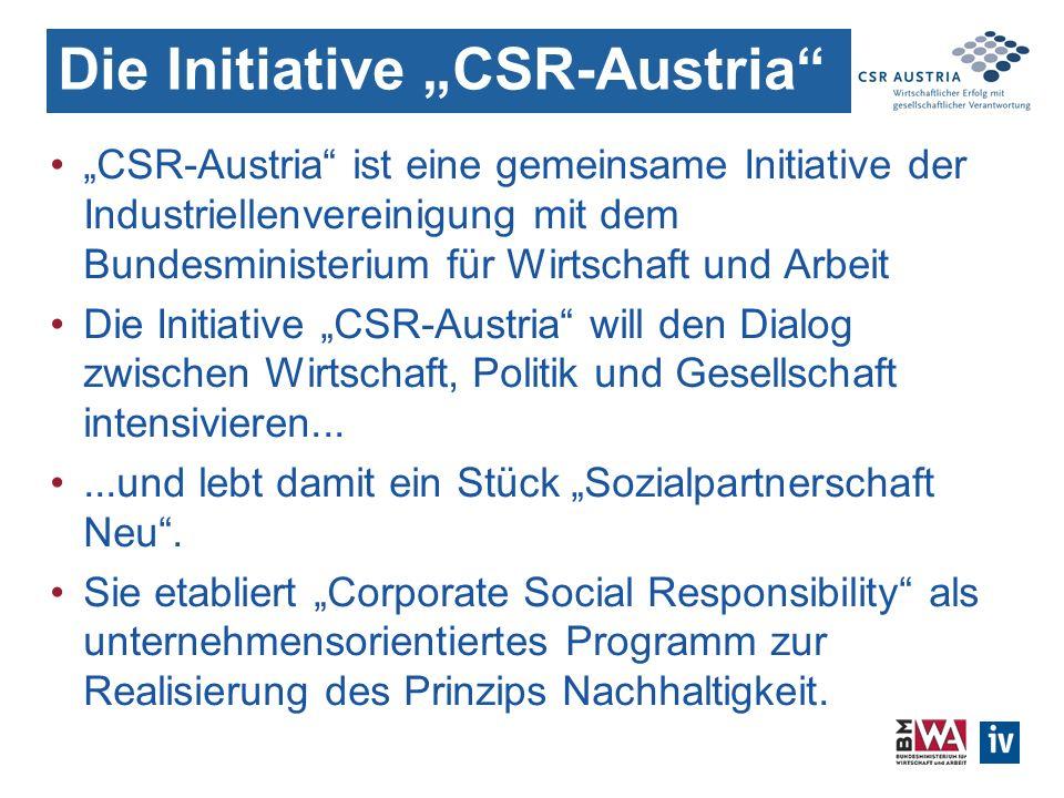 Die Initiative CSR-Austria CSR-Austria ist eine gemeinsame Initiative der Industriellenvereinigung mit dem Bundesministerium für Wirtschaft und Arbeit Die Initiative CSR-Austria will den Dialog zwischen Wirtschaft, Politik und Gesellschaft intensivieren......und lebt damit ein Stück Sozialpartnerschaft Neu.