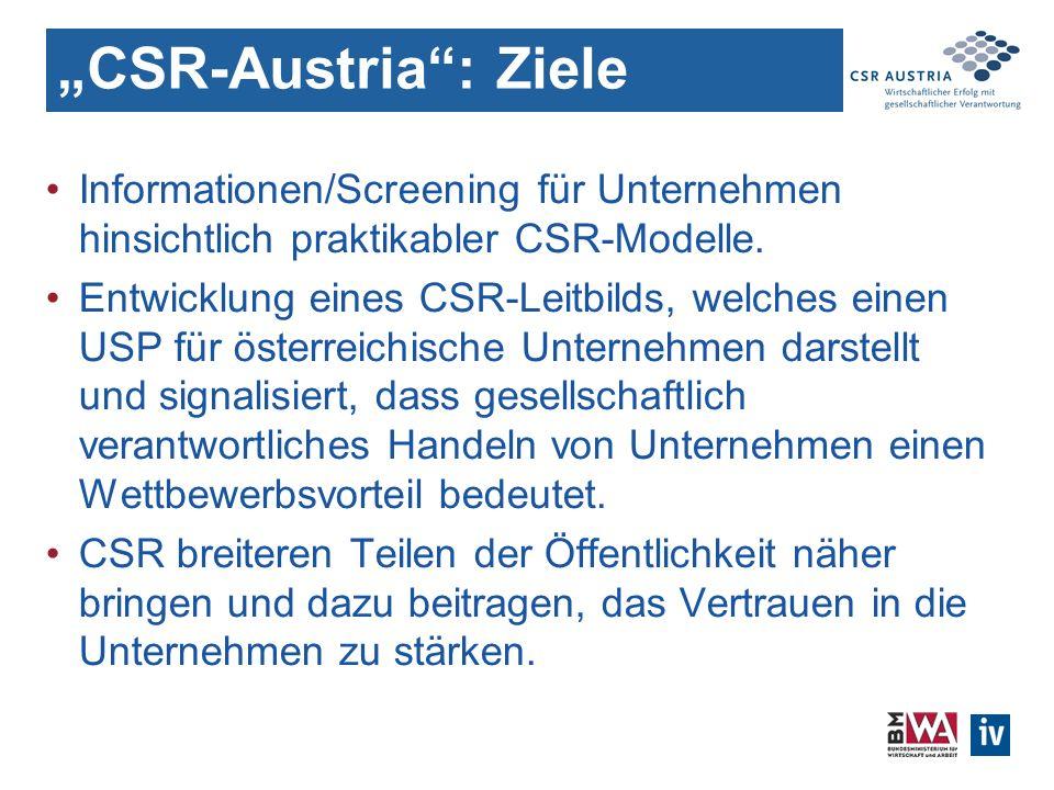 CSR-Austria: Ziele Informationen/Screening für Unternehmen hinsichtlich praktikabler CSR-Modelle.