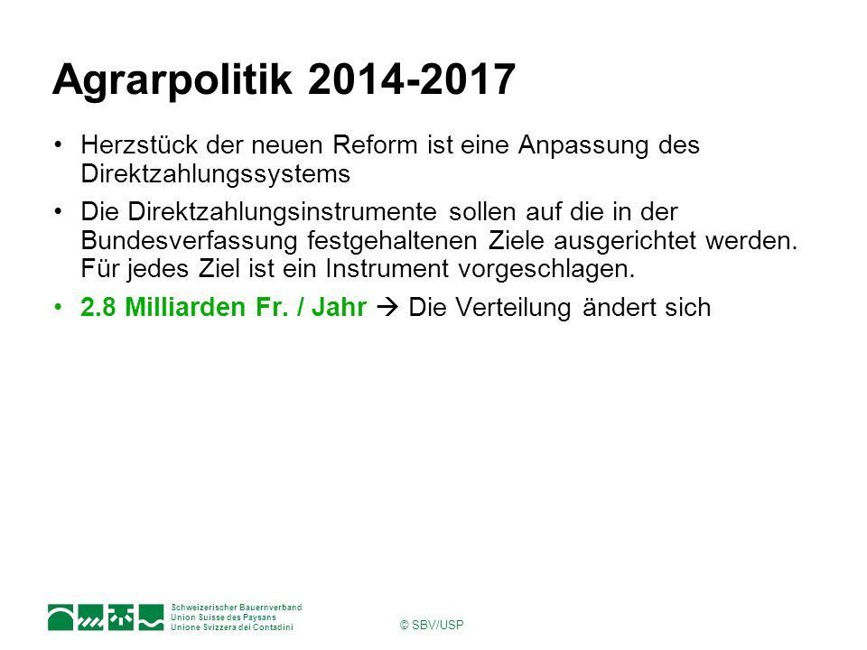 Schweizerischer Bauernverband Union Suisse des Paysans Unione Svizzera dei Contadini © SBV/USP Agrarpolitik 2014-2017 Herzstück der neuen Reform ist e