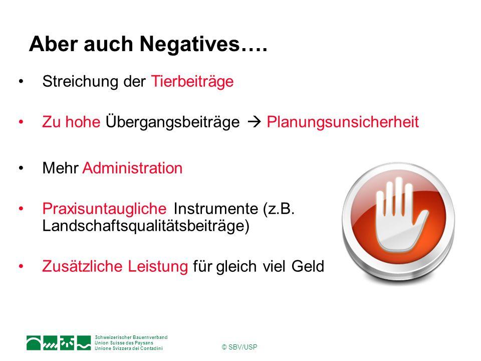 Schweizerischer Bauernverband Union Suisse des Paysans Unione Svizzera dei Contadini © SBV/USP Aber auch Negatives…. Streichung der Tierbeiträge Zu ho