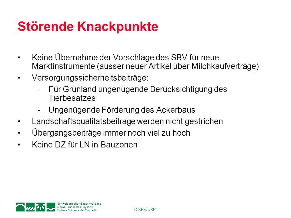 Schweizerischer Bauernverband Union Suisse des Paysans Unione Svizzera dei Contadini © SBV/USP Störende Knackpunkte Keine Übernahme der Vorschläge des