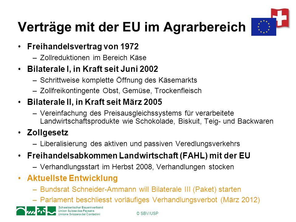 Schweizerischer Bauernverband Union Suisse des Paysans Unione Svizzera dei Contadini © SBV/USP Verträge mit der EU im Agrarbereich Freihandelsvertrag