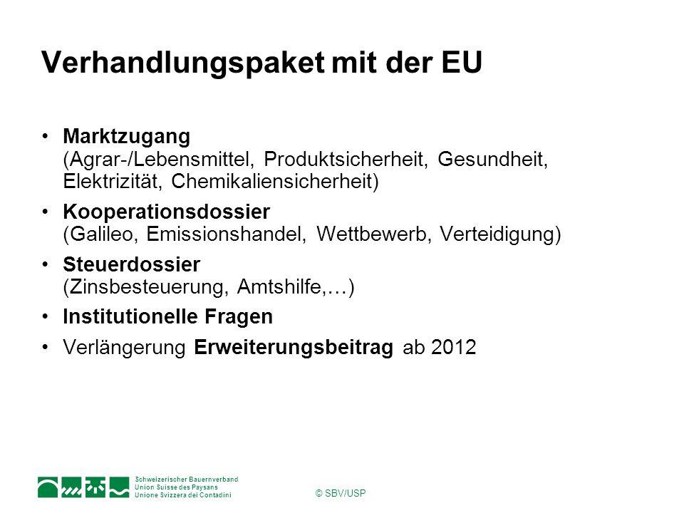 Schweizerischer Bauernverband Union Suisse des Paysans Unione Svizzera dei Contadini © SBV/USP Verhandlungspaket mit der EU Marktzugang (Agrar-/Lebens