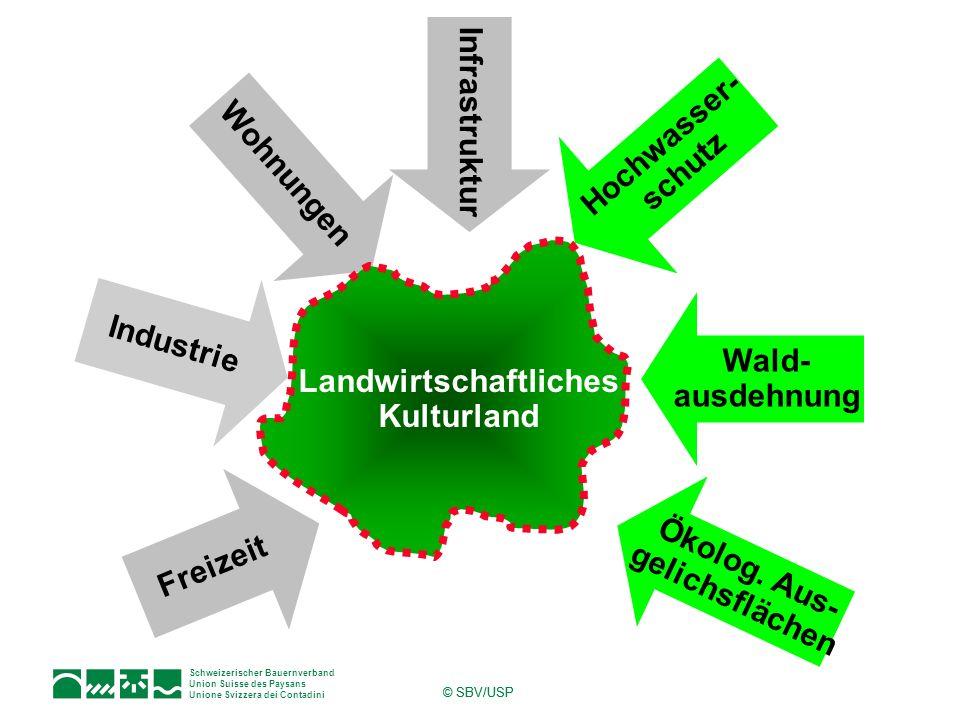 Schweizerischer Bauernverband Union Suisse des Paysans Unione Svizzera dei Contadini © SBV/USP Wohnungen Industrie Infrastruktur Hochwasser- schutz Wa