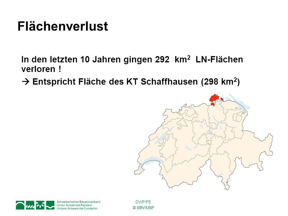 Schweizerischer Bauernverband Union Suisse des Paysans Unione Svizzera dei Contadini © SBV/USP DWP/FE In den letzten 10 Jahren gingen 292 km 2 LN-Fläc