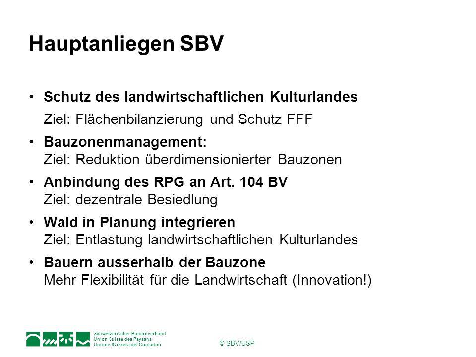 Schweizerischer Bauernverband Union Suisse des Paysans Unione Svizzera dei Contadini © SBV/USP Hauptanliegen SBV Schutz des landwirtschaftlichen Kultu