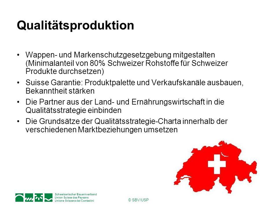 Schweizerischer Bauernverband Union Suisse des Paysans Unione Svizzera dei Contadini © SBV/USP Qualitätsproduktion Wappen- und Markenschutzgesetzgebun