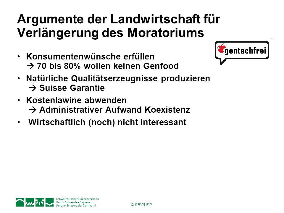 Schweizerischer Bauernverband Union Suisse des Paysans Unione Svizzera dei Contadini © SBV/USP Argumente der Landwirtschaft für Verlängerung des Morat