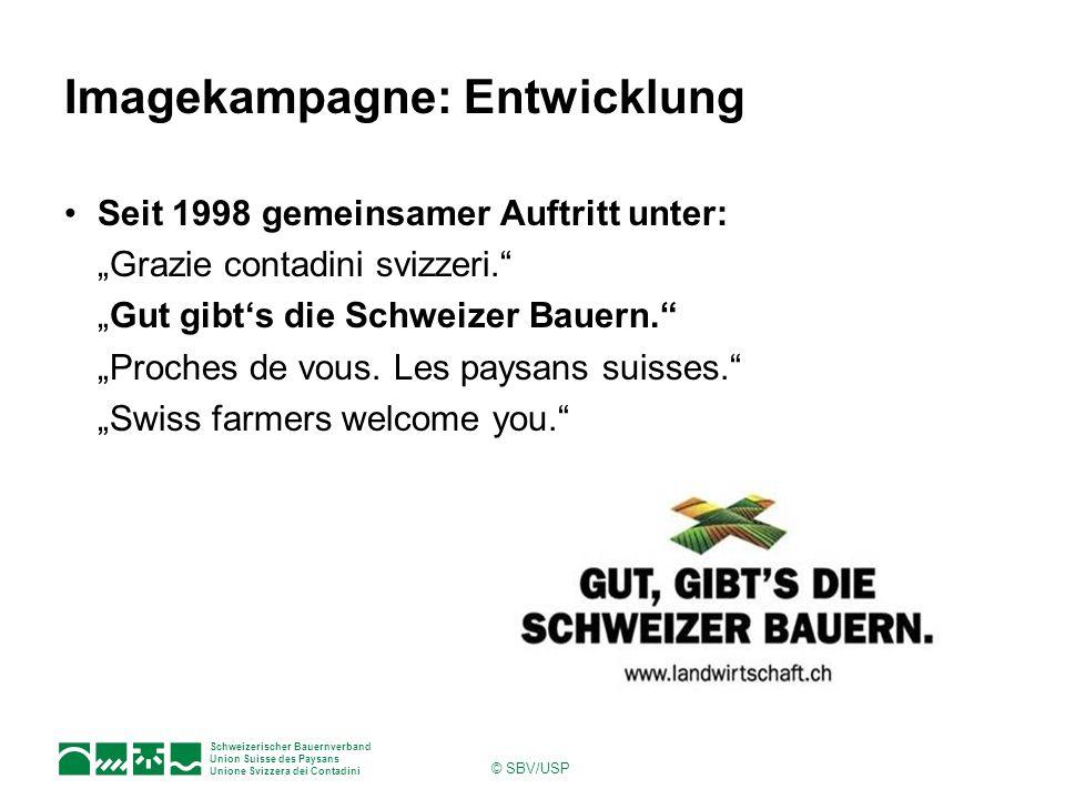 Schweizerischer Bauernverband Union Suisse des Paysans Unione Svizzera dei Contadini © SBV/USP Imagekampagne: Entwicklung Seit 1998 gemeinsamer Auftri