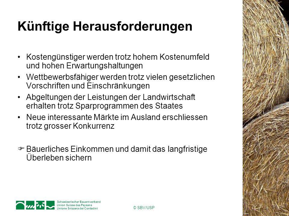 Schweizerischer Bauernverband Union Suisse des Paysans Unione Svizzera dei Contadini © SBV/USP Künftige Herausforderungen Kostengünstiger werden trotz