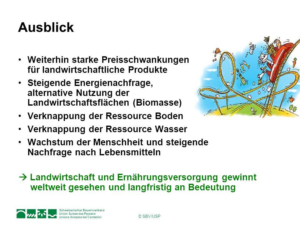 Schweizerischer Bauernverband Union Suisse des Paysans Unione Svizzera dei Contadini © SBV/USP Ausblick Weiterhin starke Preisschwankungen für landwir