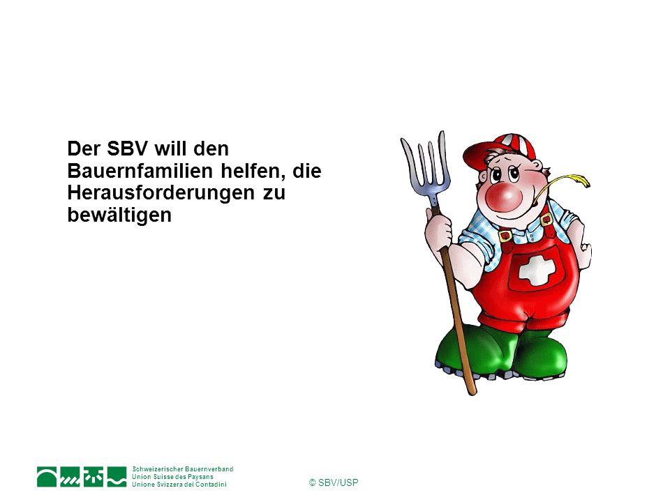 Schweizerischer Bauernverband Union Suisse des Paysans Unione Svizzera dei Contadini © SBV/USP Der SBV will den Bauernfamilien helfen, die Herausforde