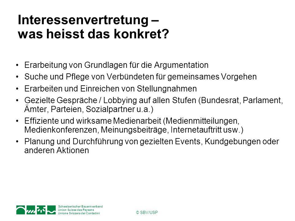 Schweizerischer Bauernverband Union Suisse des Paysans Unione Svizzera dei Contadini © SBV/USP Lobbying