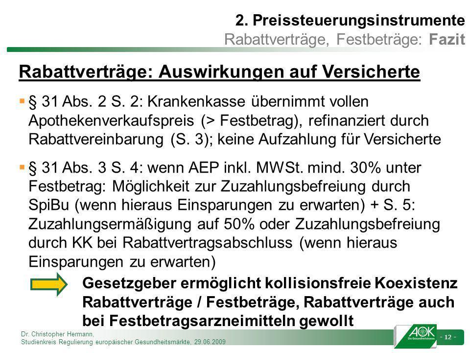 Dr. Christopher Hermann, Studienkreis Regulierung europäischer Gesundheitsmärkte, 29.06.2009 - 12 - Rabattverträge: Auswirkungen auf Versicherte § 31