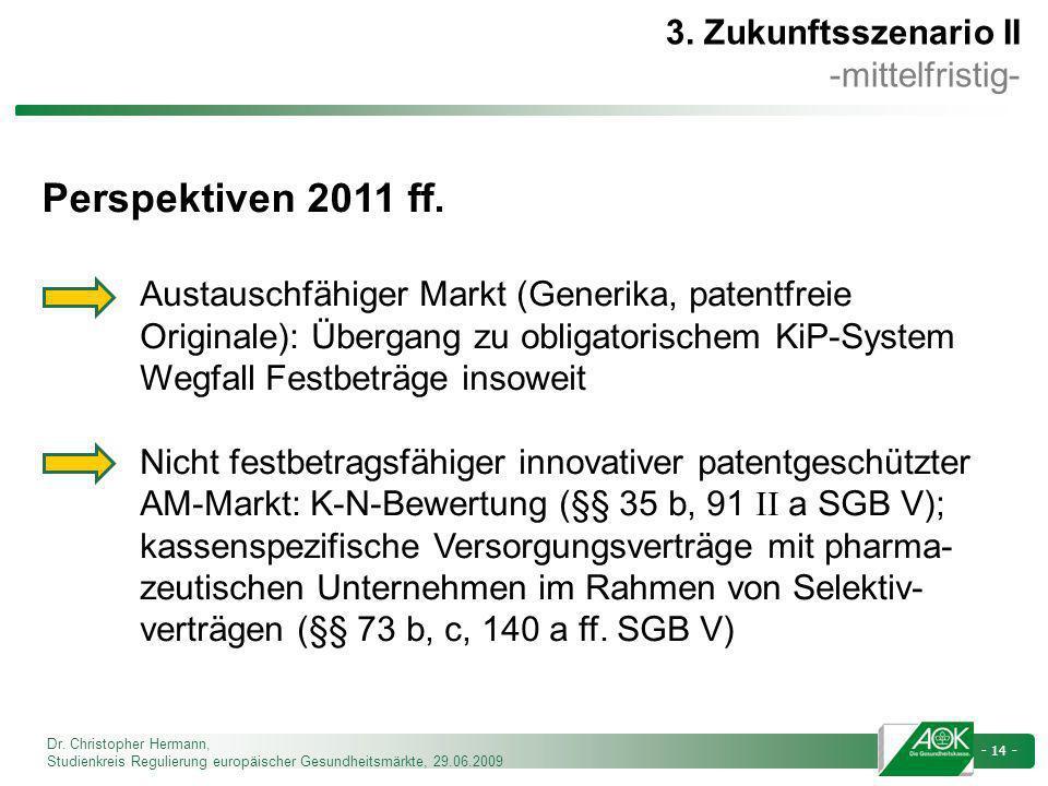 Dr. Christopher Hermann, Studienkreis Regulierung europäischer Gesundheitsmärkte, 29.06.2009 - 14 - 3. Zukunftsszenario II -mittelfristig- Perspektive