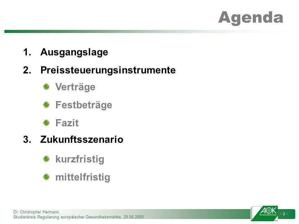 Dr. Christopher Hermann, Studienkreis Regulierung europäischer Gesundheitsmärkte, 29.06.2009 - 2 - Agenda 1.Ausgangslage 2.Preissteuerungsinstrumente