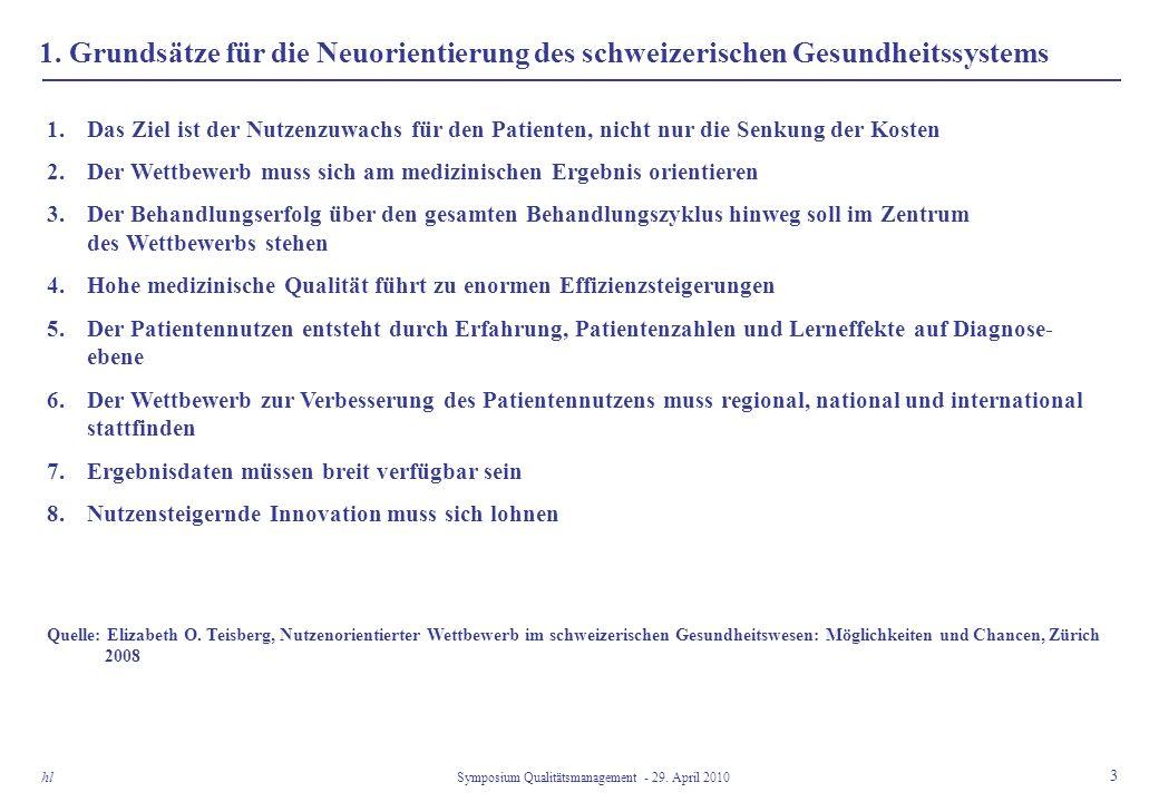 1. Grundsätze für die Neuorientierung des schweizerischen Gesundheitssystems 3 Symposium Qualitätsmanagement - 29. April 2010 hl 1.Das Ziel ist der Nu