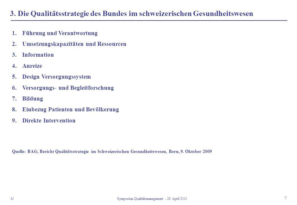 3. Die Qualitätsstrategie des Bundes im schweizerischen Gesundheitswesen 7 Symposium Qualitätsmanagement - 29. April 2010 hl 1.Führung und Verantwortu