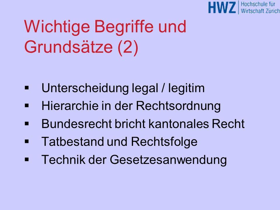 Wichtige Begriffe und Grundsätze (1) Recht / Sitte / Moral Gewaltmonopol des Staates Sanktionen Legalitätsprinzip Verhältnismässigkeitsprinzip