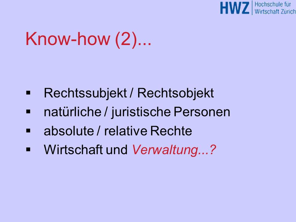 Know-how (1)...