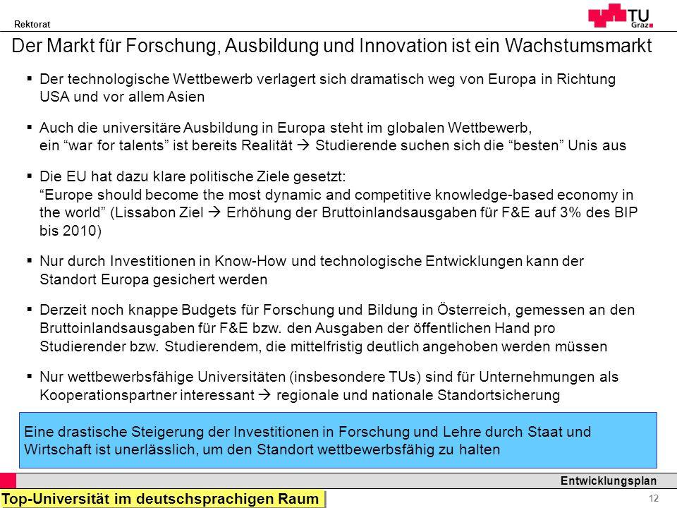 Rektorat Professor Horst Cerjak, 19.12.2005 12 Entwicklungsplan Der Markt für Forschung, Ausbildung und Innovation ist ein Wachstumsmarkt Der technolo