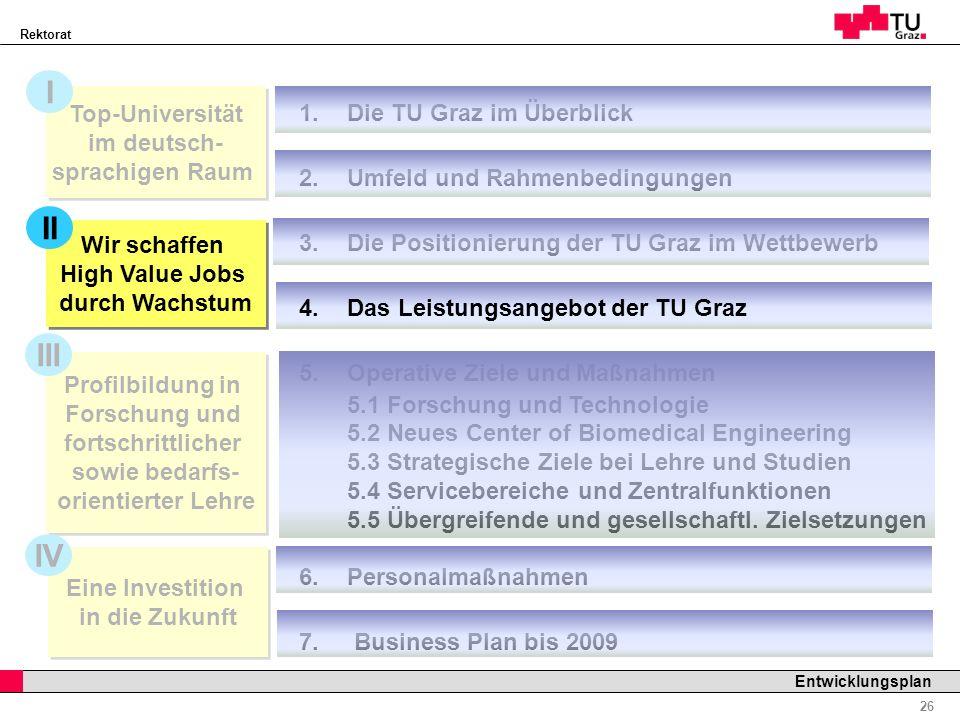 Rektorat Professor Horst Cerjak, 19.12.2005 26 Entwicklungsplan Profilbildung in Forschung und fortschrittlicher sowie bedarfs- orientierter Lehre 1.D