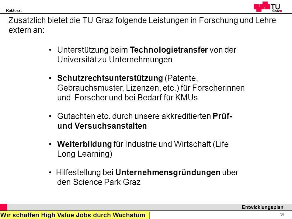 Rektorat Professor Horst Cerjak, 19.12.2005 35 Entwicklungsplan Zusätzlich bietet die TU Graz folgende Leistungen in Forschung und Lehre extern an: Un