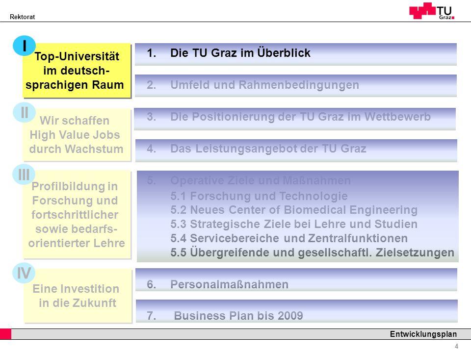 Rektorat Professor Horst Cerjak, 19.12.2005 4 Entwicklungsplan Profilbildung in Forschung und fortschrittlicher sowie bedarfs- orientierter Lehre 1.Di