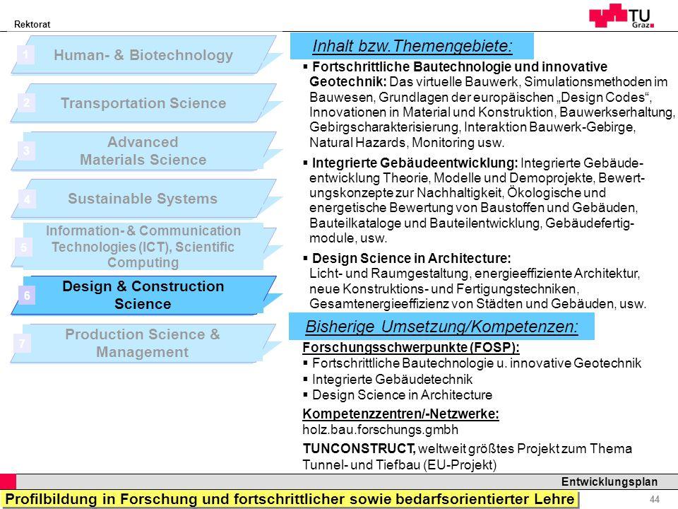 Rektorat Professor Horst Cerjak, 19.12.2005 44 Entwicklungsplan Forschungsschwerpunkte (FOSP): Fortschrittliche Bautechnologie u. innovative Geotechni