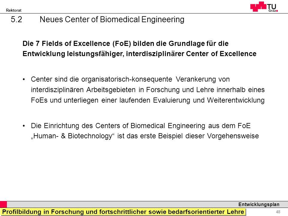Rektorat Professor Horst Cerjak, 19.12.2005 48 Entwicklungsplan 5.2Neues Center of Biomedical Engineering Die 7 Fields of Excellence (FoE) bilden die