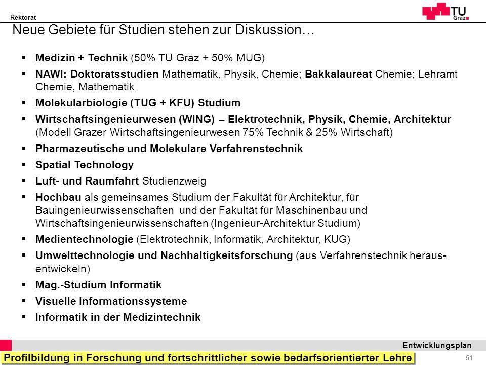 Rektorat Professor Horst Cerjak, 19.12.2005 51 Entwicklungsplan Neue Gebiete für Studien stehen zur Diskussion… Medizin + Technik (50% TU Graz + 50% M