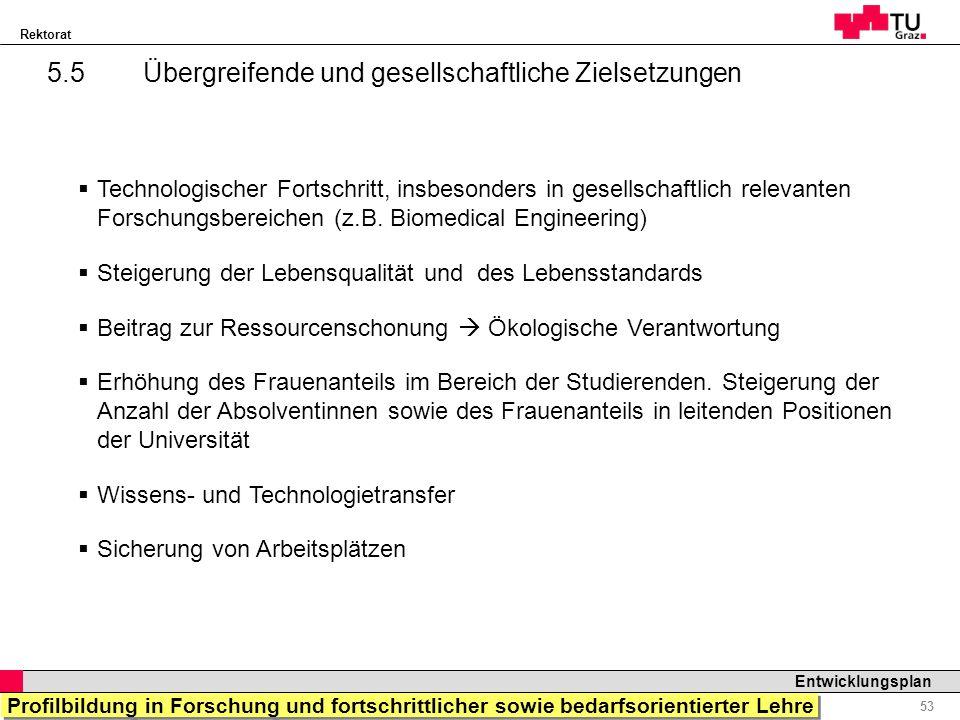 Rektorat Professor Horst Cerjak, 19.12.2005 53 Entwicklungsplan 5.5 Übergreifende und gesellschaftliche Zielsetzungen Technologischer Fortschritt, ins