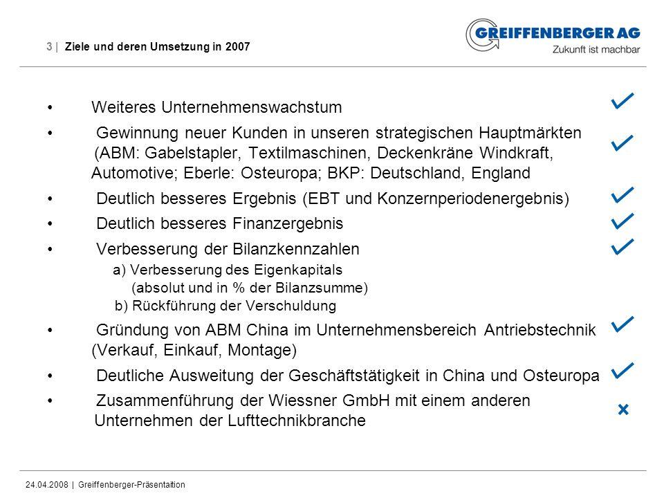 24.04.2008 | Greiffenberger-Präsentaition 3 | Ziele und deren Umsetzung in 2007 Weiteres Unternehmenswachstum Gewinnung neuer Kunden in unseren strate