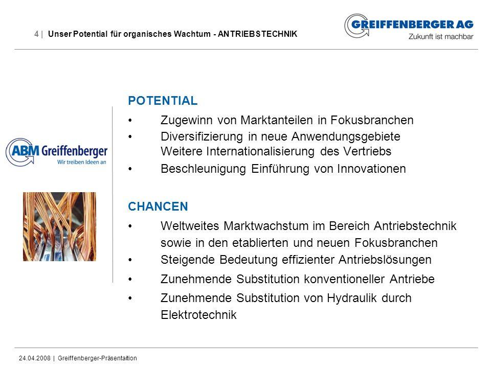 24.04.2008 | Greiffenberger-Präsentaition 4 | Unser Potential für organisches Wachtum - ANTRIEBSTECHNIK POTENTIAL Zugewinn von Marktanteilen in Fokusb