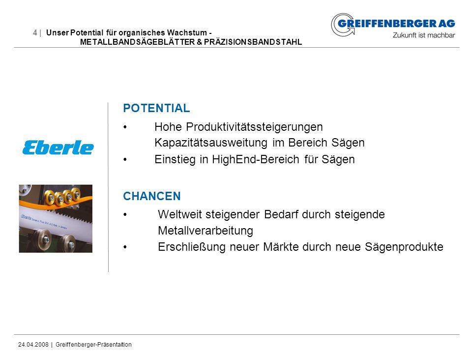 24.04.2008 | Greiffenberger-Präsentaition 4 | Unser Potential für organisches Wachstum - METALLBANDSÄGEBLÄTTER & PRÄZISIONSBANDSTAHL POTENTIAL Hohe Pr