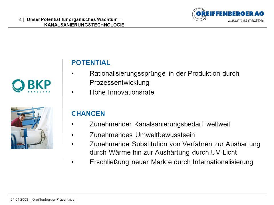 24.04.2008 | Greiffenberger-Präsentaition 4 | Unser Potential für organisches Wachtum – KANALSANIERUNGSTECHNOLOGIE POTENTIAL Rationalisierungssprünge