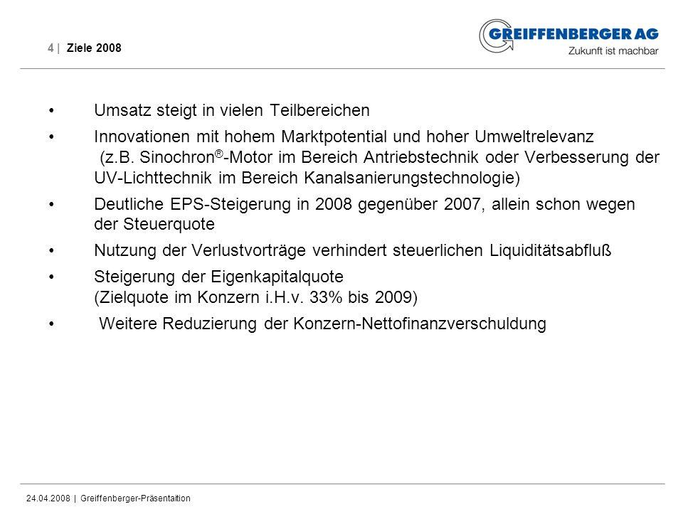 24.04.2008 | Greiffenberger-Präsentaition 4 | Ziele 2008 Umsatz steigt in vielen Teilbereichen Innovationen mit hohem Marktpotential und hoher Umweltr