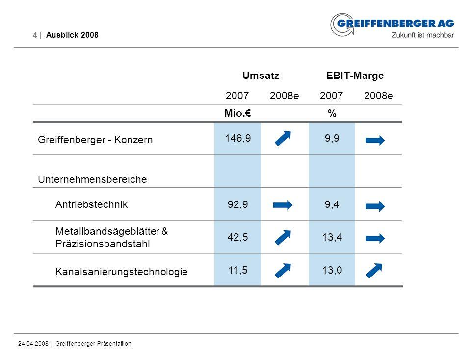24.04.2008 | Greiffenberger-Präsentaition 4 | Ausblick 2008 UmsatzEBIT-Marge 20072008e20072008e Mio.% Greiffenberger - Konzern 146,99,9 Unternehmensbe