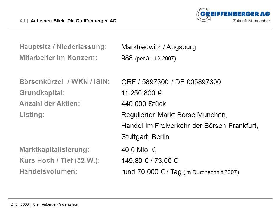24.04.2008 | Greiffenberger-Präsentaition A1 | Auf einen Blick: Die Greiffenberger AG Marktredwitz / Augsburg 988 (per 31.12.2007) GRF / 5897300 / DE