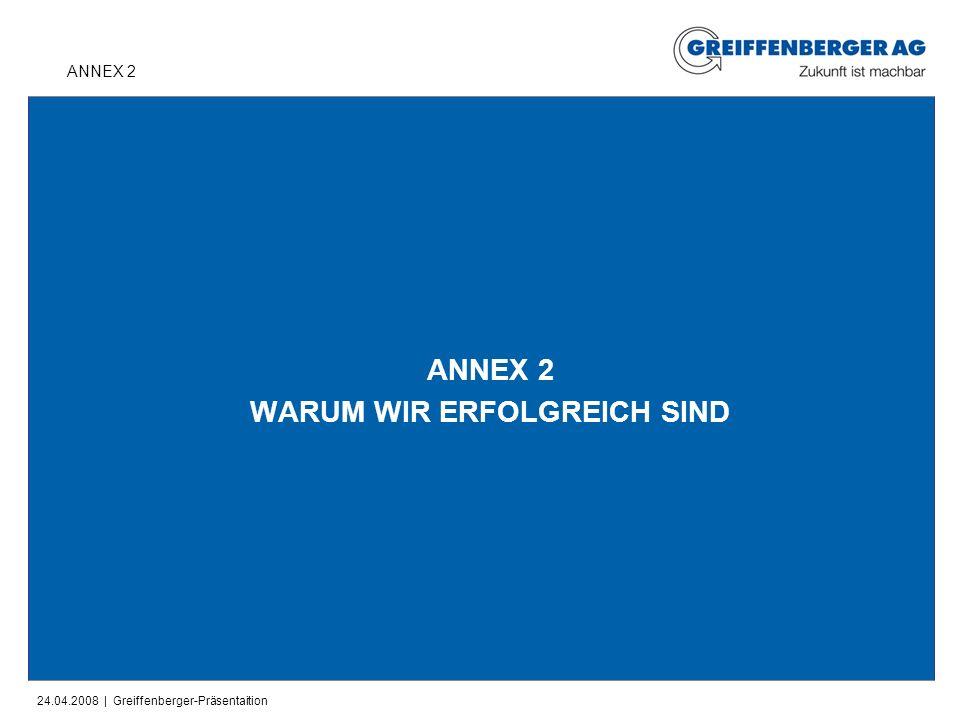 24.04.2008 | Greiffenberger-Präsentaition ANNEX 2 WARUM WIR ERFOLGREICH SIND