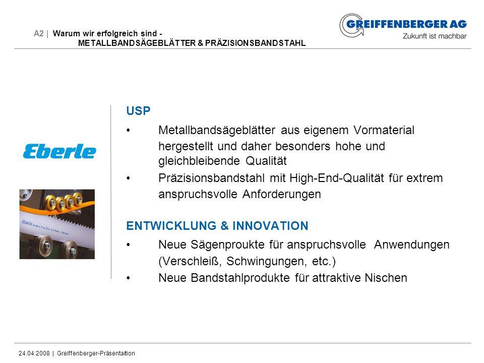 24.04.2008 | Greiffenberger-Präsentaition A2 | Warum wir erfolgreich sind - METALLBANDSÄGEBLÄTTER & PRÄZISIONSBANDSTAHL USP Metallbandsägeblätter aus